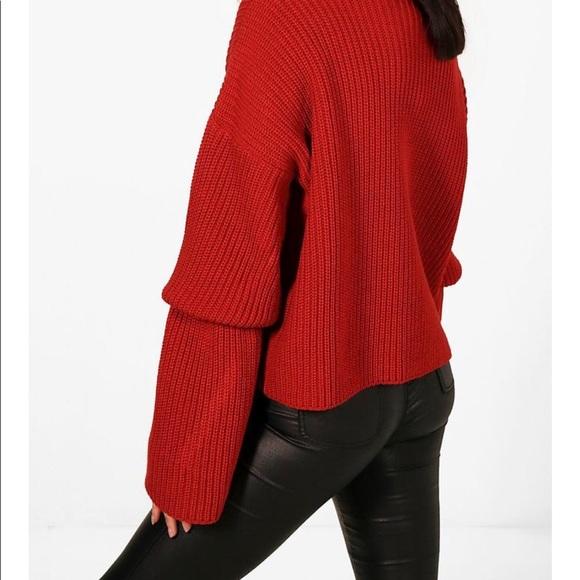 d10bd1519d Boohoo Red balloon sleeve sweater